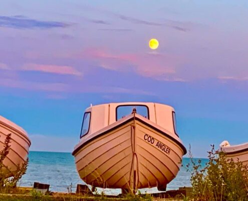 Moon over Pett Level - 1 August 2020 - photo courtesy of Rukhsana Mosam