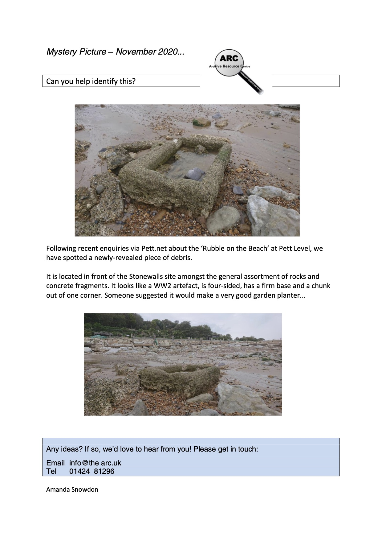 mystery picture beach artefact oct 2020
