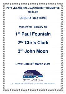 500 club winners february 2021