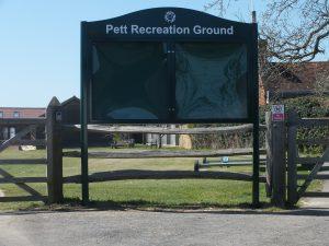 new pett recreation ground noticeboard