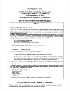 pett parish council notice of period of public right to inspect the accounts page 1