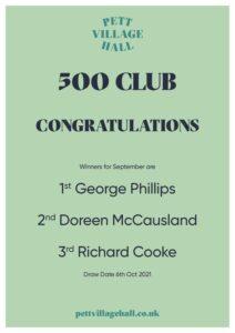 500 Club October draw winners