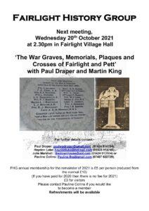 Fairlight History Society talk The War Graves Memorial Plaques and Crosses in Fairlight and Pett 20th October 2021 2.30 Fairlight Village Hall min